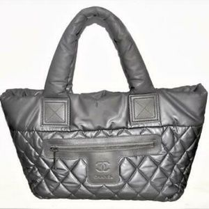 AUTHENTIC CHANEL SILVER GRAY NYLON QUILTED COCO CO
